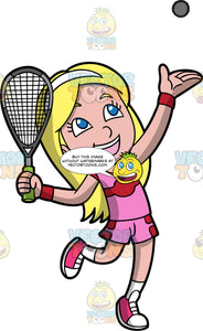 A Girl Getting Ready To Serve A Squash Ball. A girl with long blonde hair and blue eyes, wearing pink and red shorts, a pink and red shirt, white socks and pink shoes, throwing a squash ball up in the air with one hand, while the other hand holds a squash racquet, as she gets ready to serve the ball