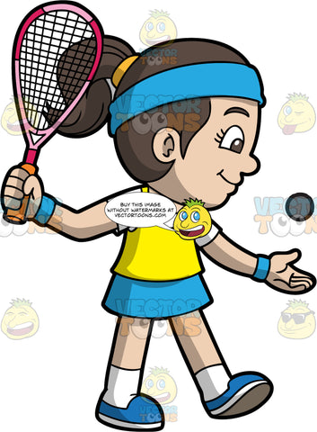 A Girl Ready To Play A Game Of Squash. A girl with dark brown hair tied up in a ponytail, wearing a blue skirt, a yellow tank top over a white t-shirt, white socks, and blue shoes, throws a squash ball up into the air with one hand, while holding onto a racquet with the other, in preparation for starting a game of squash