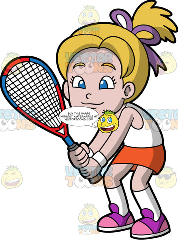 A Girl Holding A Squash Racquet In Her Hands. A girl with blonde hair and blue eyes, wearing an orange skirt, a white tank top, white socks, and purple and pink shoes, holding a racquet in both hands waiting for the squash game to start