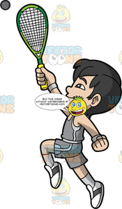 A Boy Reaching Up To Hit A Squash Ball. A boy with black hair, wearing gray shorts, a gray shirt, and white and gray shoes, reaching his one arm up into the air while holding onto a squash racquet and tries to hit the ball coming towards him