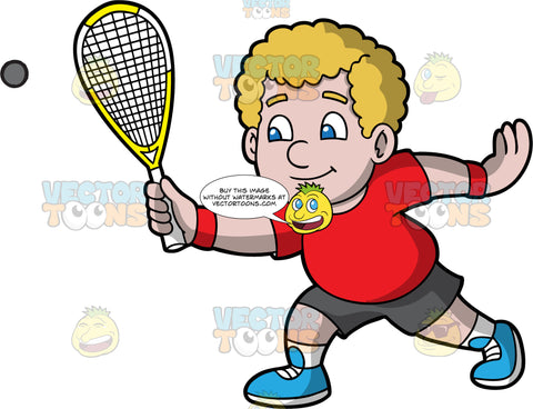 A Chubby Boy Playing Squash. A chubby boy with curly blonde hair and blue eyes, wearing dark gray shorts, a red t-shirt, white socks, and blue shoes, holding onto a squash racquet in one hand and lunging forward to hit the ball coming towards him
