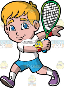 A Young Boy Playing Squash. A boy with blonde hair and blue eyes, wearing blue shorts, a white t-shirt, white socks, and purple shoes, running and  and holding a squash racquet in one hand, as he gets ready to hit a ball back handed