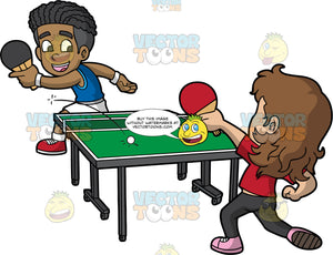 A Black Boy Playing Table Tennis With A White Boy. A black boy with curly hair, wearing a sleeveless blue top, white shorts, socks, red shoes, white wrist bands, parts his lips and smiles while hitting the white ping pong ball on the other side of the green table with a short net with his black paddle, to his opponent with a shaggy brown hair, wearing a red shirt, black pants, pink shoes, who is hitting the ball with a red paddle