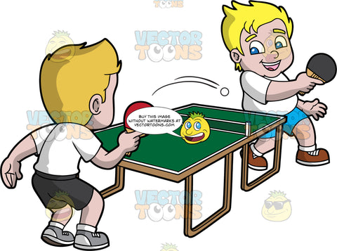 Two Boys Playing Table Tennis. A chubby boy with blonde hair, wearing a white shirt, blue shorts, white socks, brown shoes, smiles while returning the white ping pong ball using a black paddle to his opponent on the other side of the green table with a net, with blonde hair, wearing a white shirt, black shorts, white socks, light gray with white sneakers who is holding a red paddle