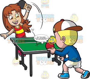 A Girl And Boy Playing Intense Table Tennis. A girl with brown hair, wearing a red and yellow tank top, shorts, pink shoes, white wrist bands, smiles while hitting the white ping pong ball using a black paddle, to the other side of the green table, that her boy opponent with blonde hair, wearing a brown with white cap, blue sweatshirt, white pants, socks, white with blue shoes, is about to hit with a red paddle