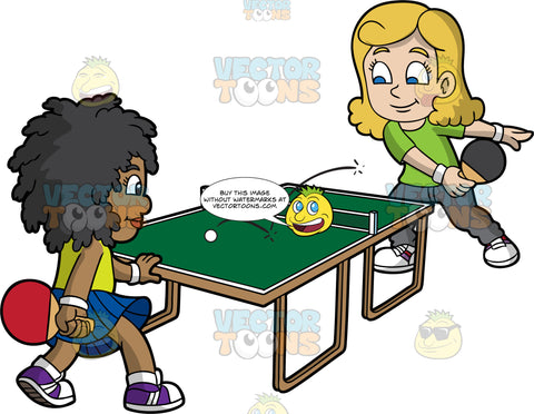 Two Girls Of Different Races Playing Table Tennis. A girl with blonde hair wearing a green shirt, white wrist bands, gray pants, white shoes, smiles while hitting the white ping pong ball using a black paddle to the black girl with curly hair on the other side of the green ping pong table, who is wearing a neon green tank top, blue skirt, white socks, purple with white shoes, and holding a red paddle