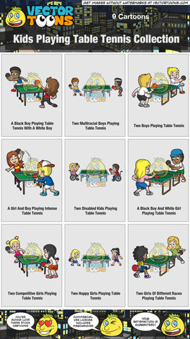 Kids Playing Table Tennis Collection