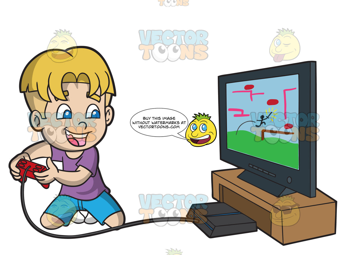 An Excited Kid Playing A Video Game Clipart Cartoons By Vectortoons