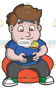 A Chubby Boy Playing A Video Game