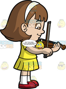 A Girl Learning How To Play The Violin. A girl with shoulder length brown hair and brown eyes, wearing a yellow skirt, a yellow shirt, white socks, and red shoes, patiently learning how to play a violin