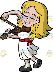 A Girl Passionately Playing The Violin. A girl with dark blonde hair, wearing a white dress with red ribbon around the waist, white socks, and dark gray shoes, closing her eyes as she plays her violin