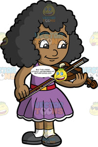 A Pretty Black Girl Playing The Violin. A black girl wearing a pretty purple dress with red belt, white socks, and dark gray shoes, standing and playing the violin for an audience