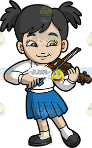 A School Girl Playing The Violin. A girl with black hair tied in pig tails, wearing a blue skirt, white shirt, blue tie, white socks, and black shoes, playing the violin during a school concert