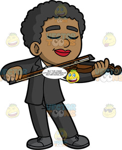 A Black Boy Playing The Violin With Passion. A black boy wearing a black suit, a white shirt, and dark gray shoes, closes his eyes as he plays the violin