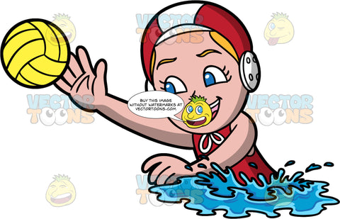 A Girl Reaching Out To Catch A Water Polo Ball. A girl wearing a red bathing suit, and red and white water polo cap, swims and reaches her arm out to catch a yellow water polo ball in her hand