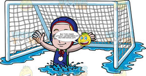 A Girl Defending A Water Polo Goal. A girl wearing a blue bathing suit, and blue water polo cap, treads water in front of a water polo net and reaches her arms out to the side in order to defend the goal
