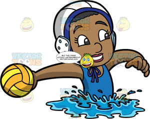 A Black Girl Getting Ready To Throw A Water Polo Ball. A black girl wearing a blue bathing suit, and a white with blue water polo cap, treads water and extends her arm out to side while holding onto a yellow and orange water polo ball