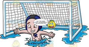 A Boy Defending A Water Polo Goal. A young boy wearing a blue water polo cap, swims in front of a white floating water polo net, and reaches his arms out to the side in order to defend the goal