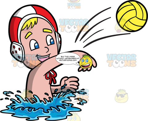 A Boy Throwing A Yellow Water Polo Ball. A boy with blonde hair and blue eyes, wearing a red and white water polo cap, smiles as he extends his arm to throw a yellow water polo ball