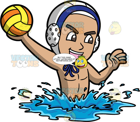A Boy Holding A Water Polo Ball. A boy wearing a white with blue water polo cap, lifts his upper body out of the water as he holds onto a yellow and orange water polo ball and gets ready to throw it
