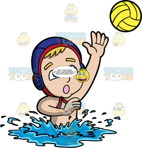 A Boy Reaching His Hand Up To Catch A Water Polo Ball. A boy with dark blonde hair and blue eyes, wearing a blue water polo cap, launches his upper body out of the water and reaches his arm up to try and catch a yellow water polo ball