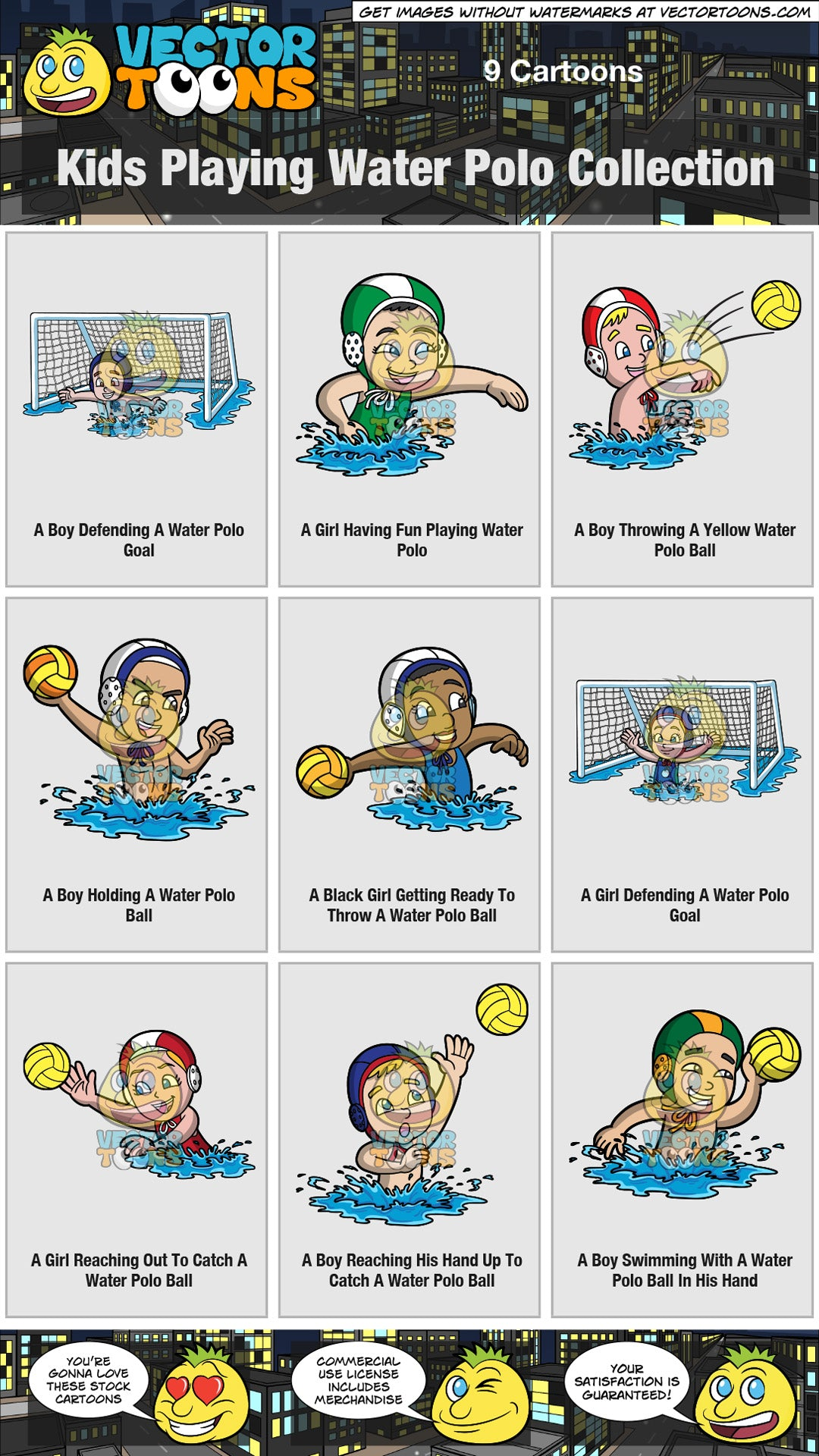 Kids Playing Water Polo Collection