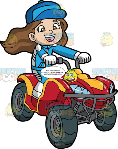 A Young Girl Racing Around On Her Quad Bike. A girl with brown hair and eyes, wearing a blue and white racing suit, and blue hat, smiles as she races around on her red and orange ATV