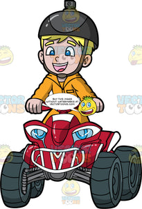 A Young Boy Standing Up On His Red Quad Bike. A boy with blonde hair and blue eyes, wearing an orange track suit, and black helmet with camera on top, stands up as he rides around on his red all terrain vehicle