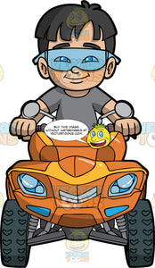 A Boy Enjoying A Day Out On His Orange ATV. A boy with dark brown hair, wearing a grey t-shirt, and safety glasses, sits on his orange quad bike and holds onto the handlebars as he drive it around