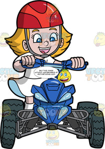 A Happy Girl Riding Around On Her Blue ATV. A girl with blonde hair and blue eyes, wearing a white dress, and red helmet, smiles as she rides around her blue quad bike