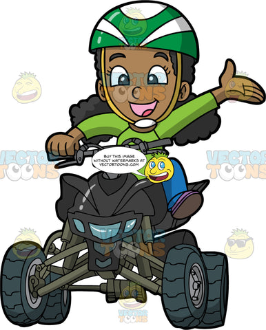 A Young Black Girl Having Fun Riding Around On A Quad Bike. A black girl wearing blue pants, a long sleeve green shirt, and green and white helmet, holds onto the handlebar of the black ATV she is riding with one hand, while she waves her other arm out to the side in excitement