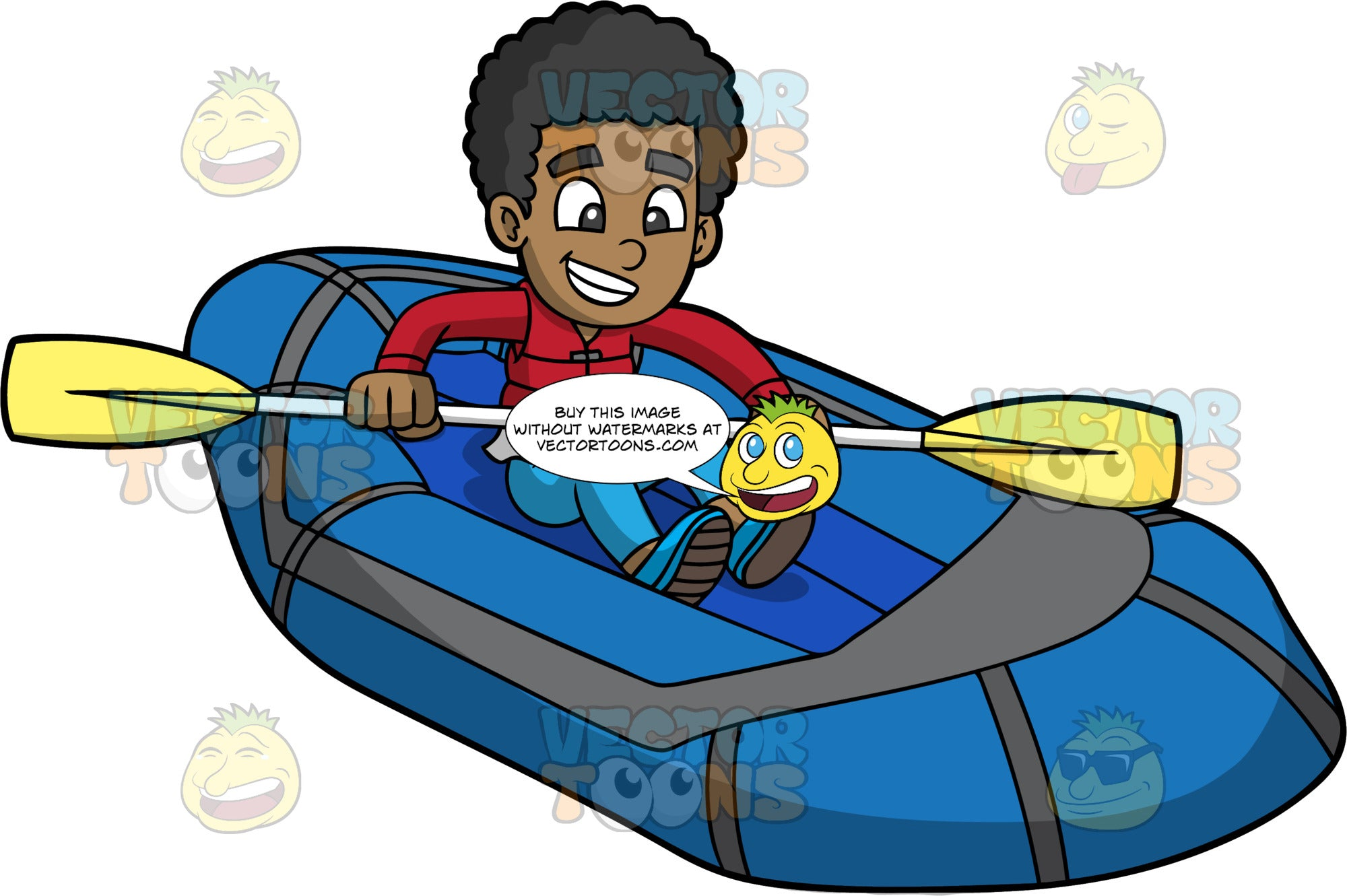 A Black Boy Steering His Blue Raft Through The Water. A black boy wearing blue pants, red shirt, red life jacket, and blue water shoes, smiles as he holds onto a double bladed paddle and sits in his blue inflatable raft