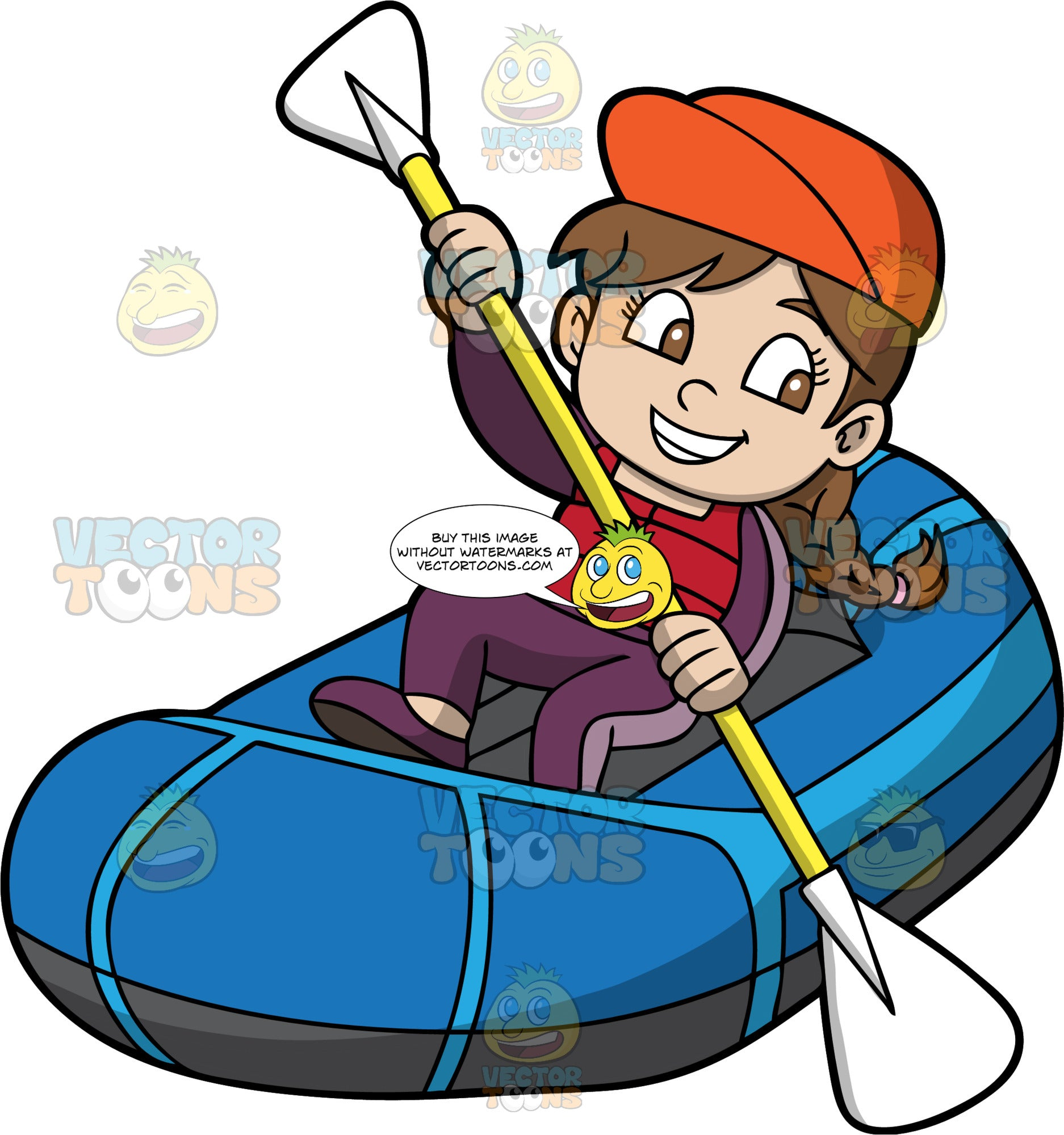 A Young Girl Skillfully Navigates Her Raft Through The Water. A girl with brown hair in braids, wearing a purple wet suit, red life jacket, and orange hat, holds a double bladed paddle in both hands and uses it to steer her blue raft