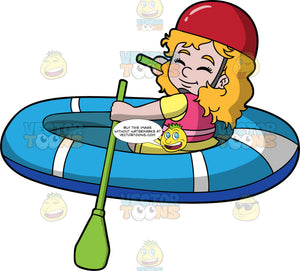 A Cute Girl Rowing Her Raft Through The Water. A girl wearing yellow shorts and shirt, a pink life jacket and red helmet, uses green oars to row the blue raft she is sitting in