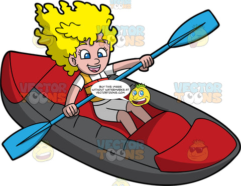 A Blonde Girl Having Fun Rafting Through Some Rapids. A girl with blonde, curly hair, wearing grey shorts, a white shirt and orange life jacket, uses a blue double bladed paddle to navigate her red raft through some rapids