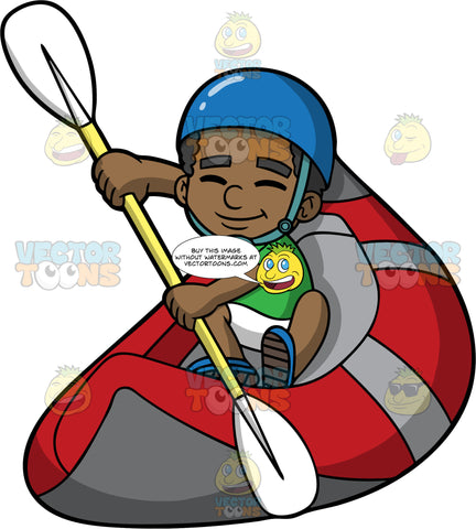A Happy Black Boy Guiding His Raft Through The Water. A black boy wearing white shorts, a green shirt, blue water shoes and a blue helmet, sits in a red raft and uses a double bladed paddle to steer it through the water