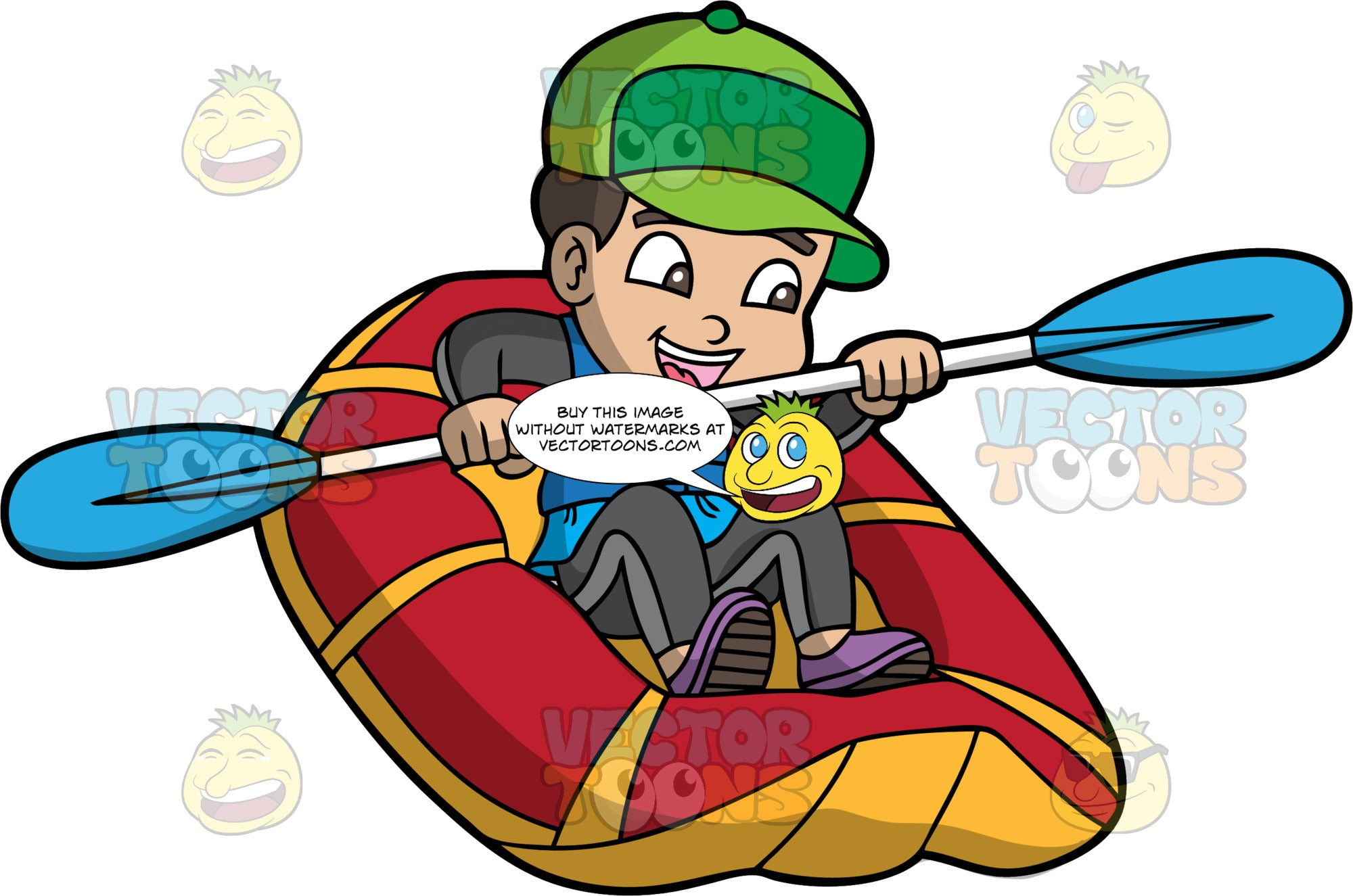 A Happy Boy Rafting Along A River. A boy wearing a grey wet suit, purple water shoes, blue life jacket, and green baseball cap, steers his red and yellow raft through some rough water with the double bladed paddle he is holding in his hands