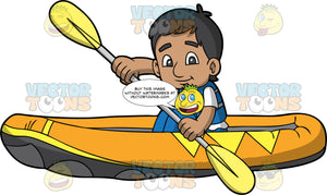 An Indian Boy Paddling His Raft Through Some Calm Water. An Indian boy wearing blue pants, a white shirt and blue life jacket, holds a double bladed paddle in both hands and uses it to steer his yellow raft through some calm water