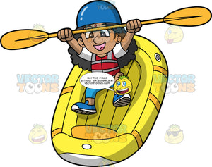 A Happy Indian Girl Having Fun Going Down Some Rapids In Her Raft. An Indian girl wearing blue pants, a white shirt, red life jacket, blue shoes and blue helmet, holds her paddle up with both hands as she sits in her yellow raft that is going down some rapids