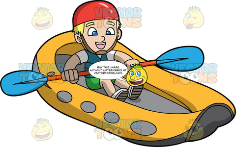 A Blonde Boy Having Fun River Rafting. A boy with blonde hair and blue eyes, wearing green shorts, a white shirt, blue life jacket, red helmet and white shoes, sits in an orange raft and holds onto a double bladed paddle with both hands