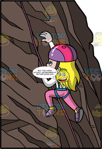 A Young Girl Climbing A Natural Rock Fomation. A girl with long blonde hair and blue eyes, wearing pink pants, a white shirt, purple rock climbing shoes, a blue harness, and a pink and purple helmet, climbing up a rock formation with the aide of a pink rope