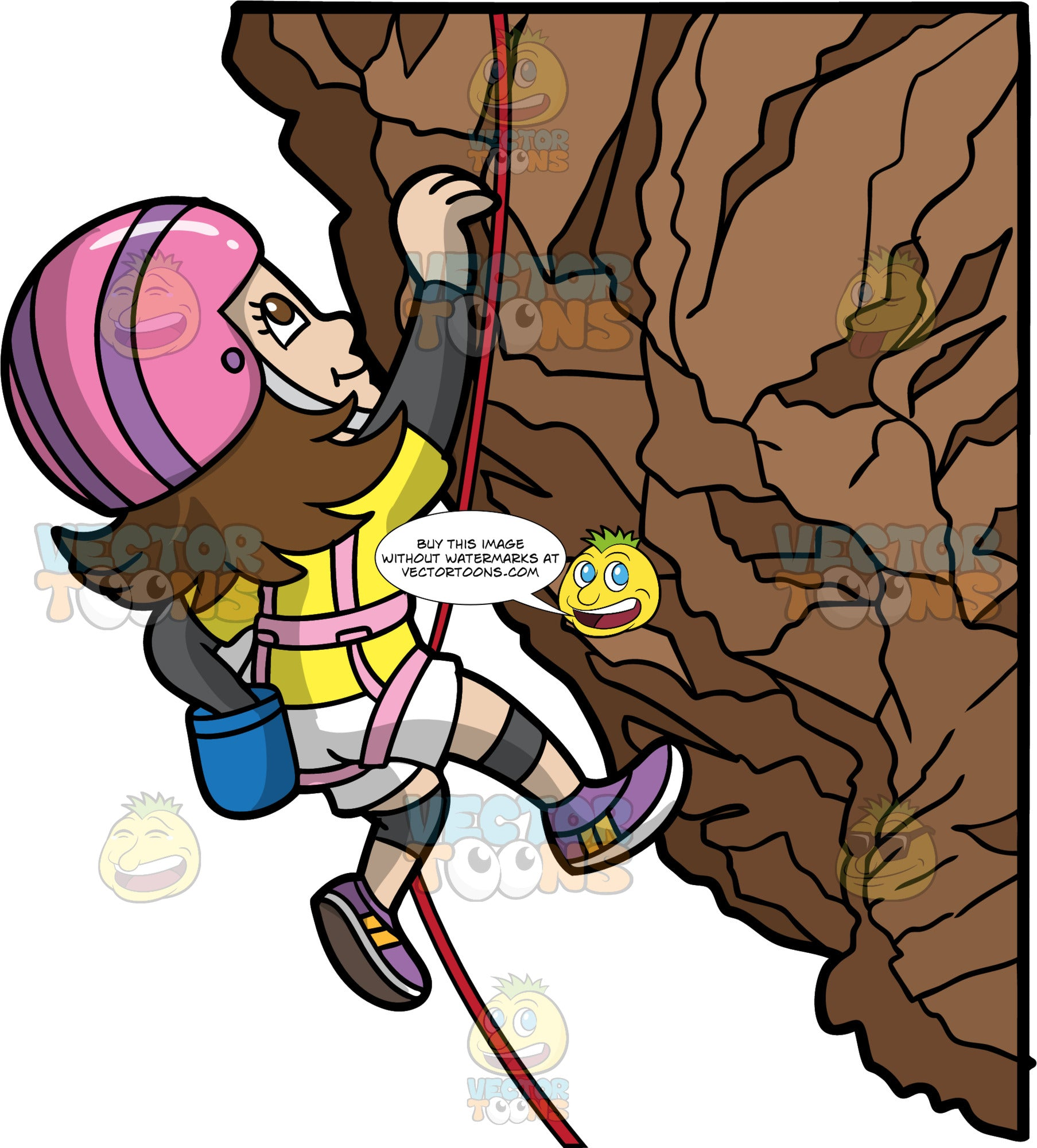 A Girl Rock Climbing Up A Cliff. A girl with brown hair and eyes, wearing white shorts, a yellow shirt, purple rock climbing shoes, a pink harness, and a pink and purple helmet, carefully climbing a cliff