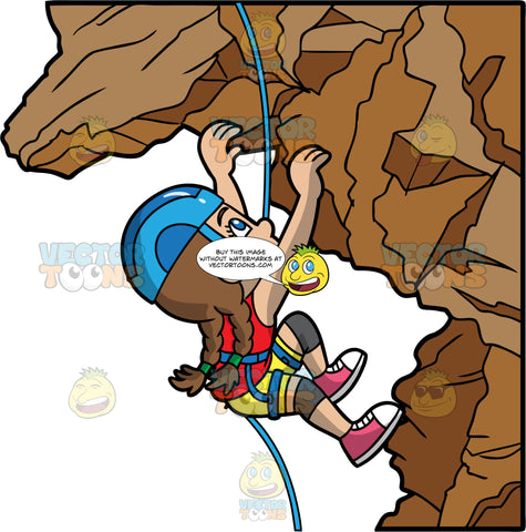 A Girl Making Her Way Up A Rock Mountain. A girl with brown hair tied in pig tails, wearing yellow shorts, a red shirt, pink and white shoes, and a blue helmet, uses her hands and feet to carefully climb a rock formation, while she is harnessed into a blue harness and rope for safety