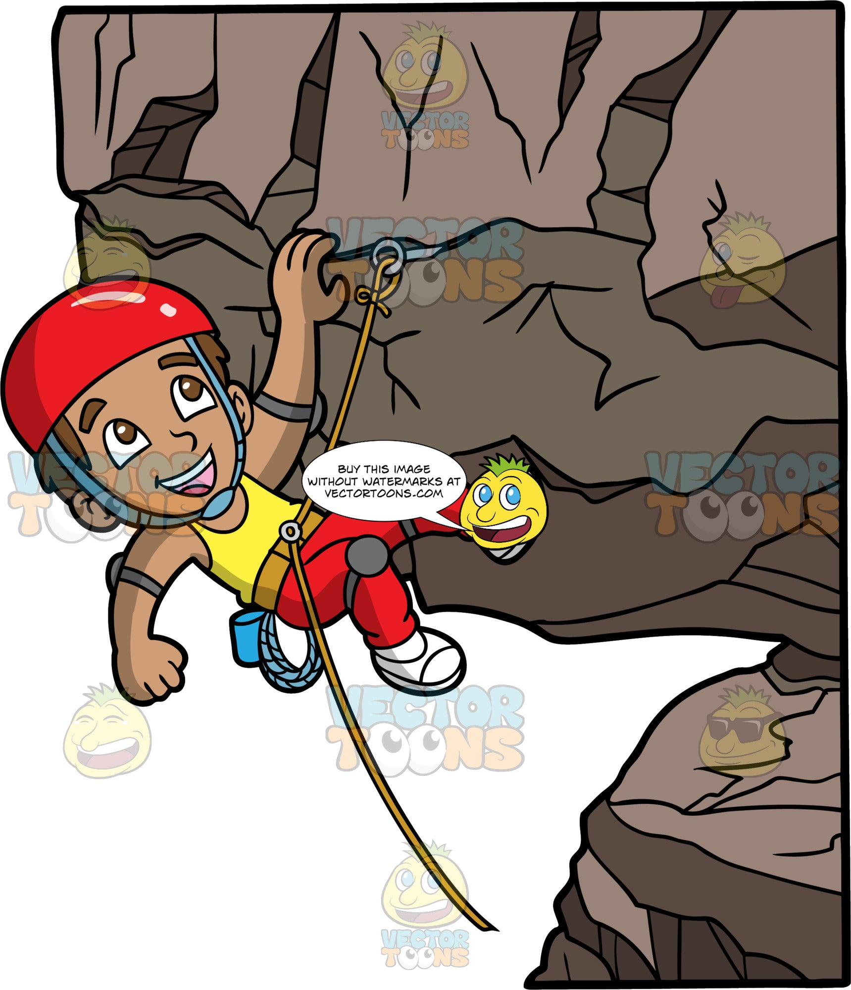 A Boy Having Fun Rock Climbing. A boy with light brown skin, brown hair, and brown eyes, wearing red pants, knee pads, white rock climbing shoes, a yellow tank top, and a red helmet, hanging onto a rock with one hand, while a rope that is attached to cliff, holds him up
