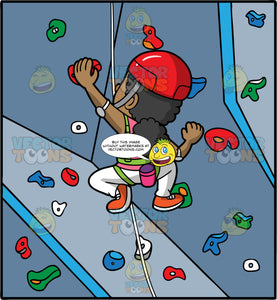 A Black Girl Climbing An Indoor Rock Climbing Wall. A black girl with her hair tied in a low pony tail, wearing white pants, orange rock climbing shoes, a pink shirt, green harness, and red helmet, making her way up an indoor rock climbing wall
