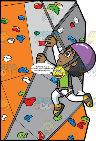 A Black Boy Having Fun Indoor Rock Climbing. A black boy wearing white pants, a green t-shirt over a white long sleeve shirt, gray and yellow rock climbing shoes, purple harness, and a purple helmet, climbing up an artificial rock wall