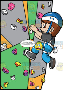 A Boy Pulling Himself Up A Rock Climbing Wall. A boy with brown hair and eyes, wearing blue pants, a dark gray shirt, gray shoes, and a blue and white helmet, pulling himself up an indoor rock climbing wall