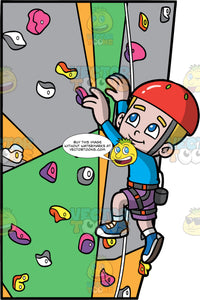 A Boy Climbing An Artificial Rock Wall. A boy with dark blond hair and blue eyes, wearing purple shorts, a blue shirt, blue shoes, and a red helmet, climbs up an indoor rock climbing wall