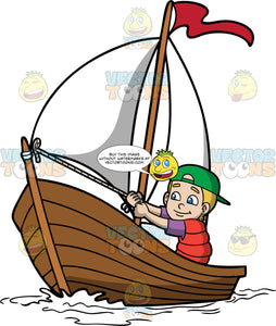 A Cute Boy Sailing The Sea. A boy with blonde hair, wearing a green cap, red life vest, purple shirt, smiles while maneuvering the wooden boat with a white sail, and red flag