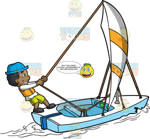 A Black Boy Tugging The Sail Of His Boat. A black boy with curly hair, wearing a white long sleeves shirt, neon green shorts, blue hat, dark gray shoes, grins while pulling the rope of the white and yellow sail of the white boat that he is sailing